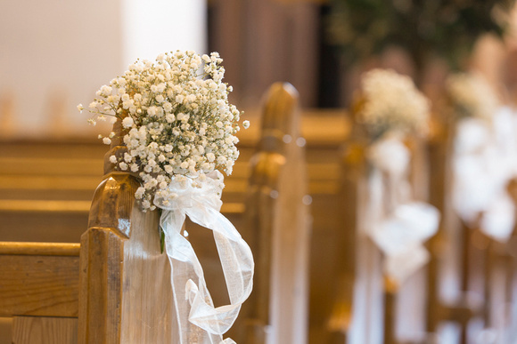 Handmade church wedding decorations at Holycross Abbey