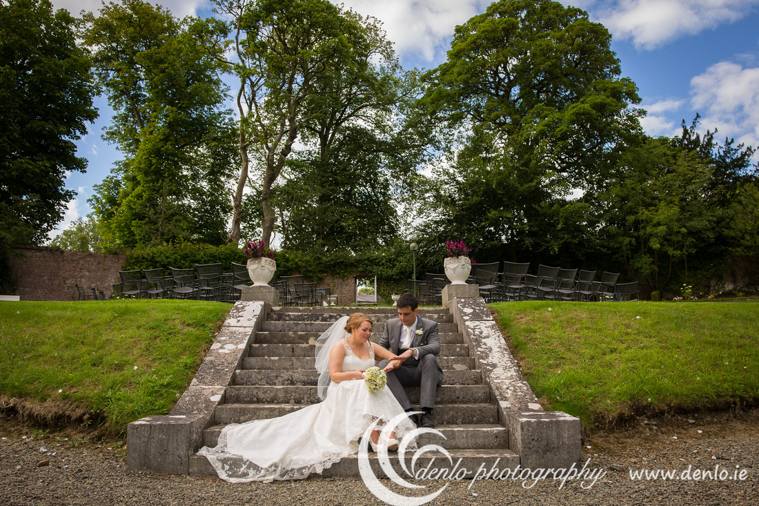 Happy couple in the secret garden at Boyne Hill House, Navan, Co. Meath.
