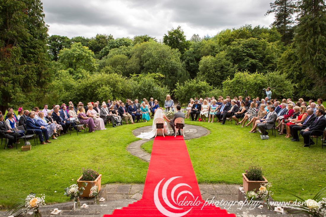 Outdoor wedding ceremony in the Secret Garden at Boyne Hill House