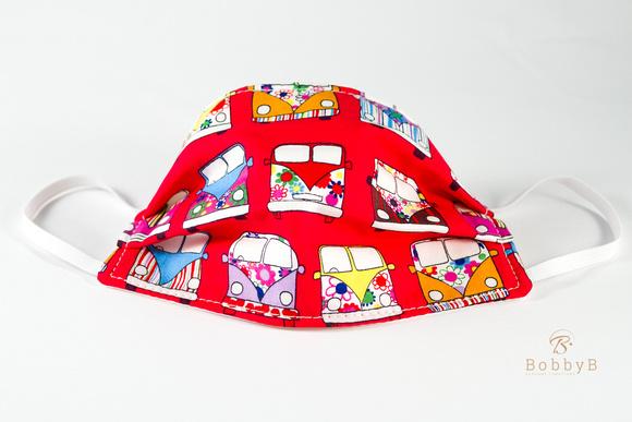Camper van pattern red BobbyB Face mask-6844